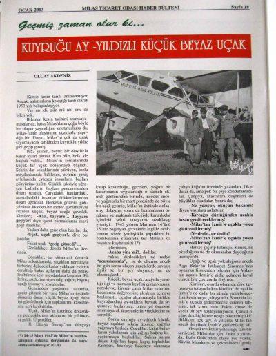 2003, Dergi MİLAS SANAYİ VE TİCARET ODASI a
