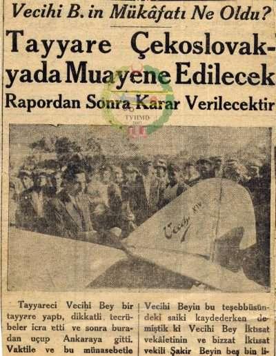 """1930, Gazete """"Vecihi B.'in Mükafâtı Ne Oldu?"""""""