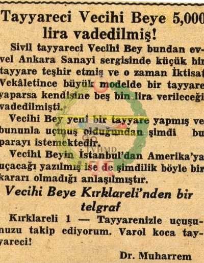 "1931, Gazete ""Tayyareci Vecihi Bey'e 5.000 Lira Vadedilmiş"""