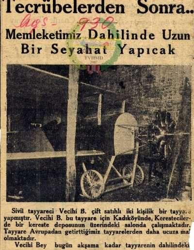 """Ağustos 1930, Gazete """"Bir Vatandaşımız Tayyare Yaptı"""""""