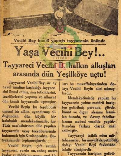"29 Eylül 1930, Gazete ""Yaşa Vecihi Bey"""