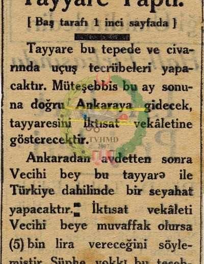 """Ekim 1930, Gazete """"Bir Tayyarecimiz Tayyare Yaptı"""""""