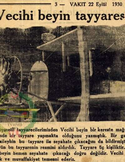 """22 Eylül 1930,  Gazete. VAKİT """"Vecihi Bey'in Tayyaresi"""""""