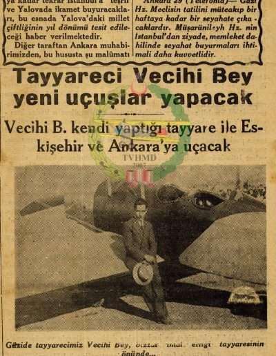 """29 Eylül 1930, Gazete Tayyareci Vecihi Bey Yeni Uçuşlar Yapacak"""""""