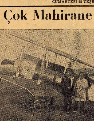 """18 Ekim 1930, Gazete """"Vecihi B. Dün Çok Mahirane Uçuşlar Yaptı"""""""