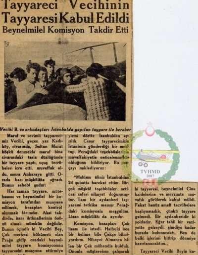 "1931, Gazete ""Tayyareci Vecihi'nin Tayyaresi Kabul Edildi"""