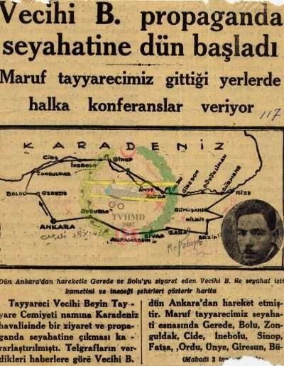 """1931, Gazete """"Vecihi B. Propaganda Seyahatine Dün Başladı"""""""