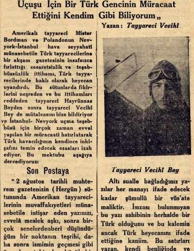 """1931, Gazete """"Türk Tayyarecileri Cevap Veriyorlar"""""""