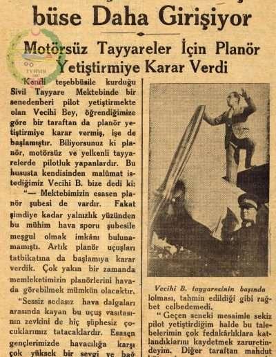 """1931, Gazete """"Vecihi Bey Yeni Bir Teşebbüse Daha Girişiyor"""""""