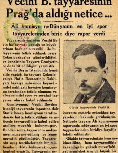 """1931, Gazete """"Vecihi B. Tayyaresinin Prağ'da aldığı Netice ..."""""""
