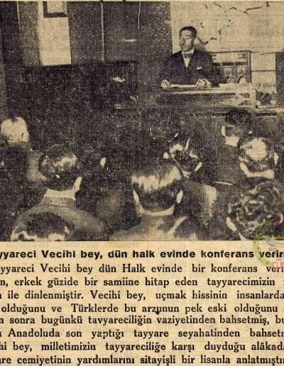 "1931, Gazete AKŞAM ""Tayyareci Vecihi bey, Dün Halk Evinde Konferans Verirken"""