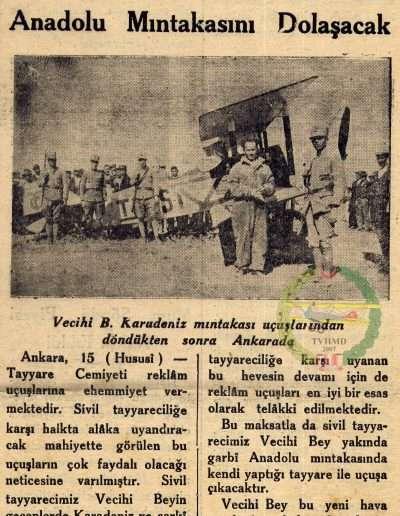 """1931, Gazete """"Vecihi Bey Yeni Uçuşlarına Başlıyor"""""""