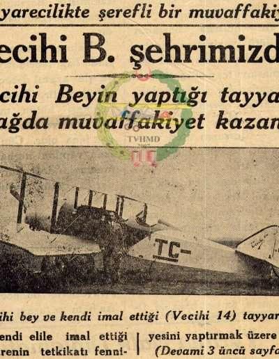 "1931, Gazete ""Tayyarecilikte Şerefli Bir Muvaffakiyet"""