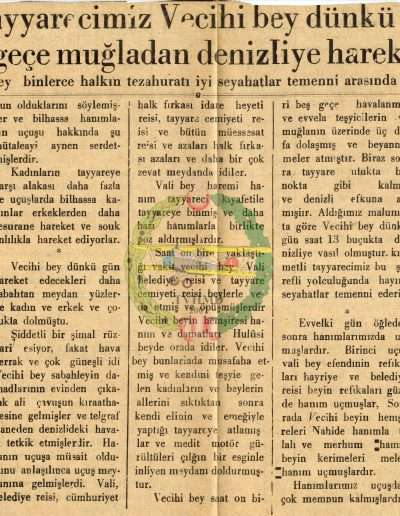 "1931, Gazete ""Kıymetli Tayyarecimiz Vecihi Bey ..."""