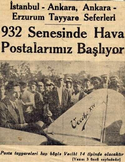 """1931, Gazete """"932 Senesinde Hava Postalarımız Başlıyor"""""""