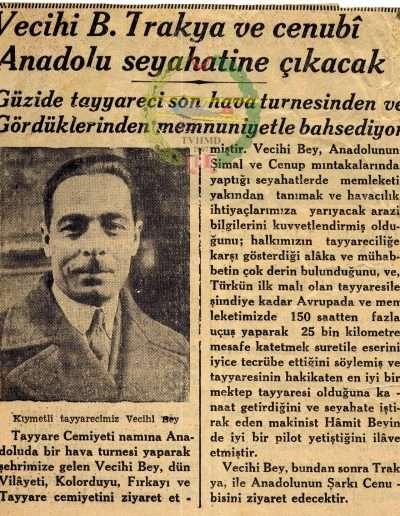 """1931, Gazete """"Vecihi B. Trakya ve Cenubi Anadolu Seyahatine Çıkacak"""""""