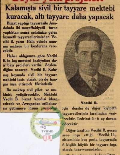 """1931, Gazete """"Kıymetli Tayyareci Vecihi Bey'in Yeni Projeleri"""""""
