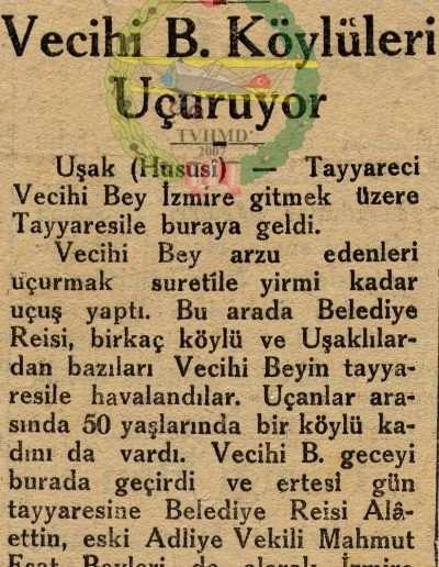 """1931 G. """"Uşak'ta Vecihi B. Köylüleri Uçuruyor"""""""
