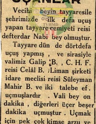 """1931, Gazete """"Tayyare ile Uçanlar"""""""