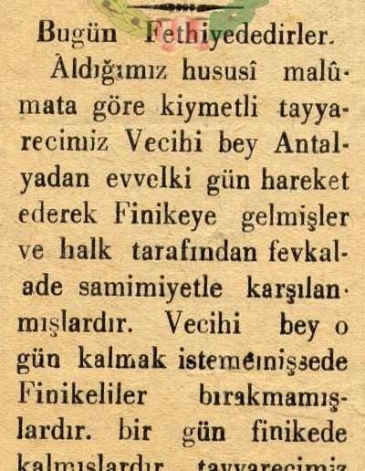 """1931, Gazete """"Tayyareci Vecihi Bey Finika'de Bir Gün Kaldı"""""""