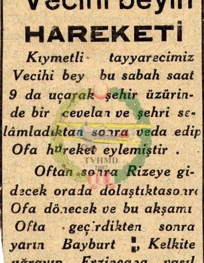 "1931, Gazete ""Vecihi Bey'in Hareketi"""