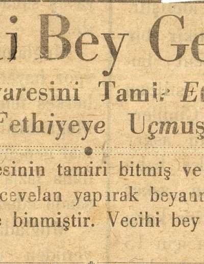 """1931, Gazete """"Vecihi Bey Geliyor"""""""