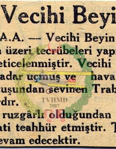 """1931, Gazete """"Tayyareci Vecihi Bey'in Uçuşları"""""""