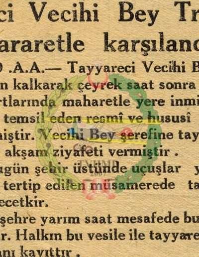 """1931, Gazete """"Tayyareci Vecihi Bey Trabzon'da Hararetle Karşılandı"""""""