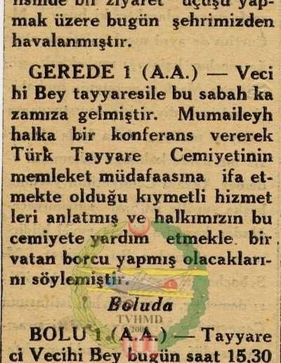 "1931, Gazete ""Tayyareci Vecihi Bey'in Seyahati"""