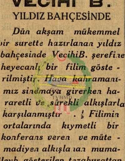"""1931, Gazete """"Vecihi B. Yıldız Bahçesinde"""""""