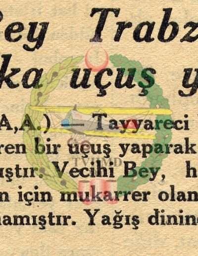 """1931, Gazete """"Vecihi Bey Trabzon'da 10 Dakika Uçuş Yaptı"""""""