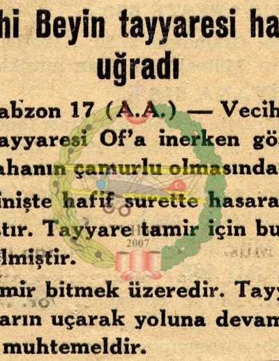 """1931, Gazete """"Vecihi Bey'in Tayyaresi Hasara Uğradı"""""""