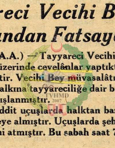 """1931, Gazete """"Tayyareci Vecihi Bey Dün Samsun'dan Fatsa'ya Uçtu"""""""
