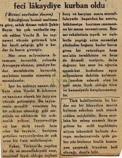"""1931, Gazete """"Sabık İktisat Vekili Buna Ne Buyururlar?"""""""