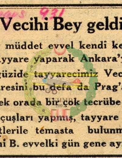 """9 Mayıs 1931, Gazete """"Vecihi Bey Geldi"""""""
