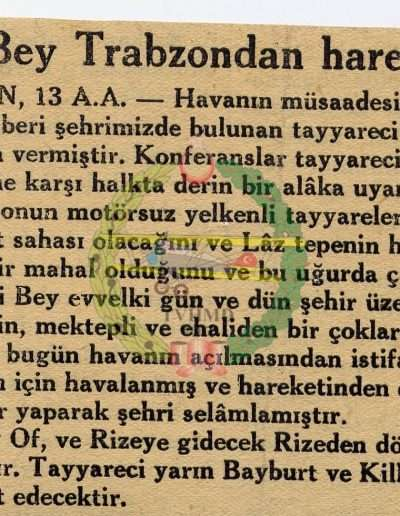 "Ekim 1931, Gazete ""Vecihi Bey Trabzon'dan Hareket Etti"""