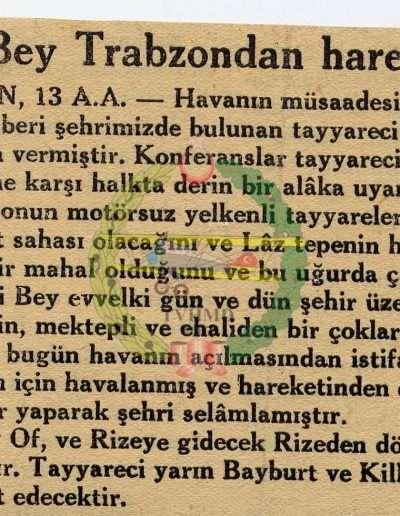 "1931, Gazete ""Vecihi Bey Trabzon'dan Hareket Etti"""