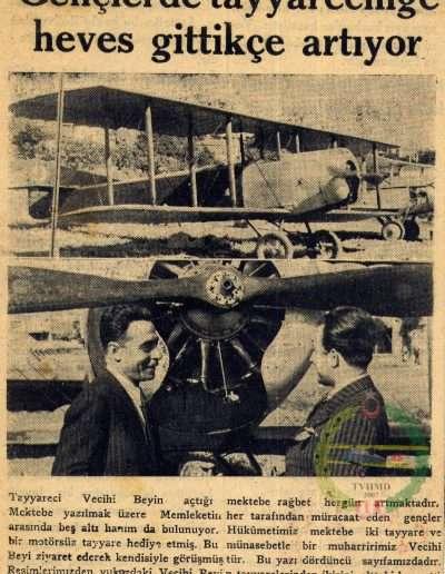 """1932, Gazete """"Gençlerde Tayyareciliğe Heves Gittikçe Artıyor"""""""