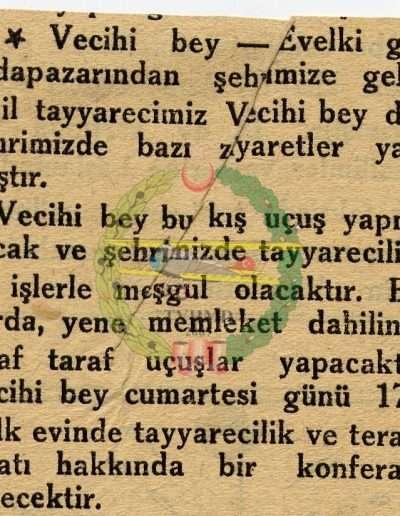 "1932, Gazete ""Vecihi Bey"""