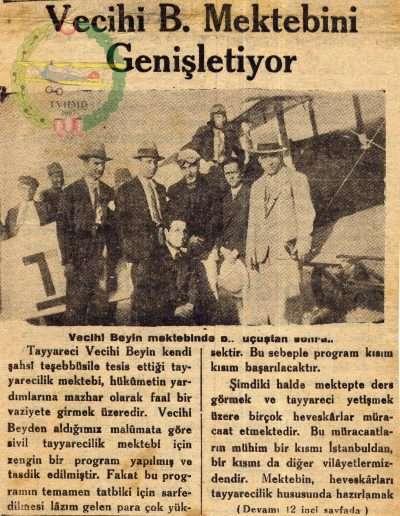"""1932, Gazete """"Vecihi B. Mektebini Genişletiyor"""""""