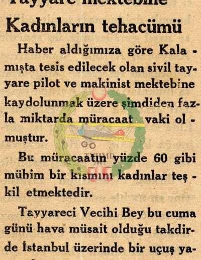 """1932, Gazete """"Tayyare Mektebine Kadınların Tehaccümü"""""""