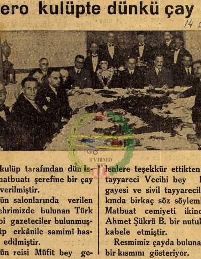 """14 Ocak 1932, Gazete """"Aero Kulüpte Dünkü Çay"""""""