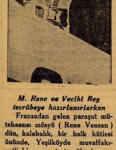 """19 Ocak 1932, Gazete """"Dün Yapılan Paraşüt Tecrübesi"""""""