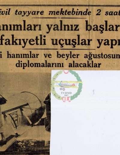 """8 Temmuz 1933, Gazete AKŞAM """"Sivil Tayyare Mektebinde 2 Saat"""""""