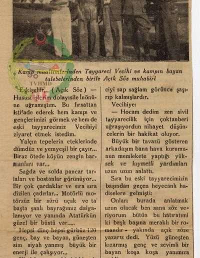 """28 Temmuz 1936, Gazete """"Türkkuşu Kampında Çok İyi Çalışılıyor"""""""