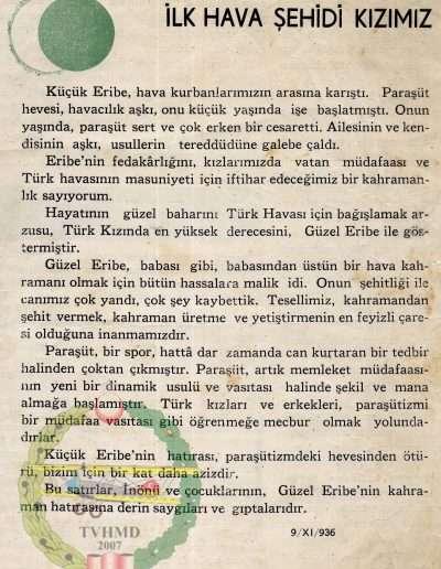 Kasım 1936, Şehit Eribe