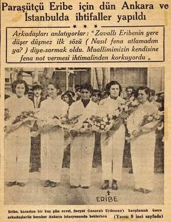 2 Kasım 1936, Paraşütçü Eribe için Ankara'da ve İstanbul'da yapılan anmalar